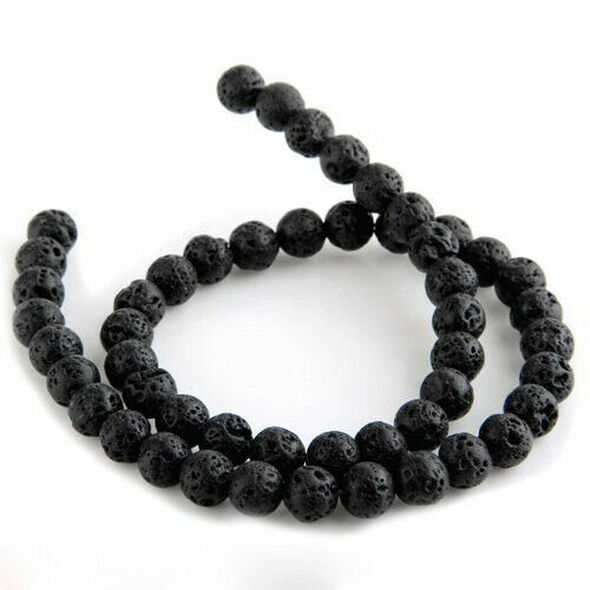 Strand Lava Stone beads loose beads ball 12 mm black