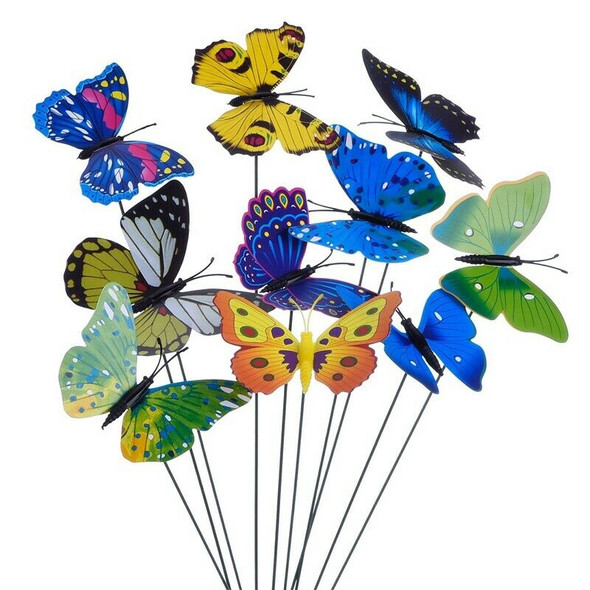 20 Pieces Garden Butterflies Stakes And 4 Pieces Dragonflies Stakes Garden