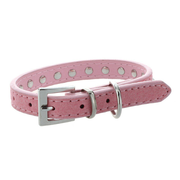 Pink PU Leather Dogs Cats Pets Puppy Neck Safety Collars XS