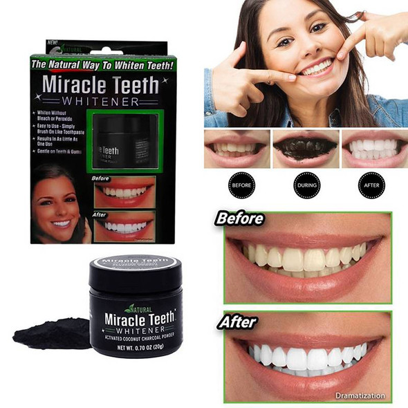 Black activated carbon teeth cleaning powder Miracle teeth Natural activity