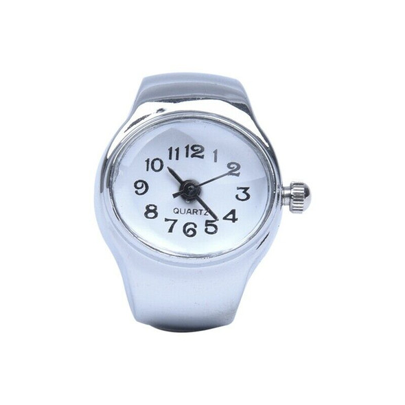 Watch Quartz Movement Oval Ring Alloy Deco Woman WHITE
