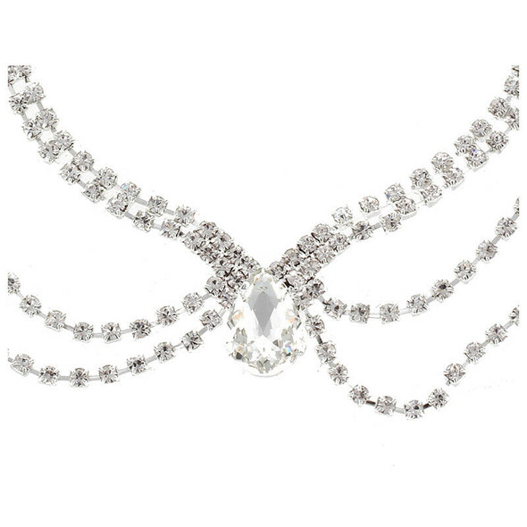 Wedding Bridal Hair Jewellery Frontlet Forehead Chain with Hairpins
