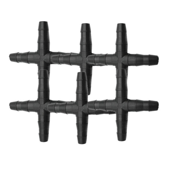 30 Pcs Hose Cross Straight Connector For 4/7 mm Hose 1/4 Inch Barb Barbed C