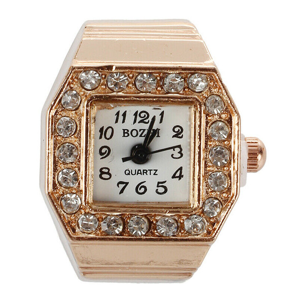 Square Dial Glitter Crystal Decor Elastic Band Finger Ring Watch Copper Ton