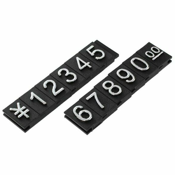 Jewelry store metal ground Arabic numbers combined price tags 10 groups