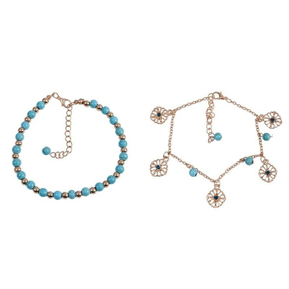 Boho Rhinestone Flower Beads Turquoise Foot Chain Anklet
