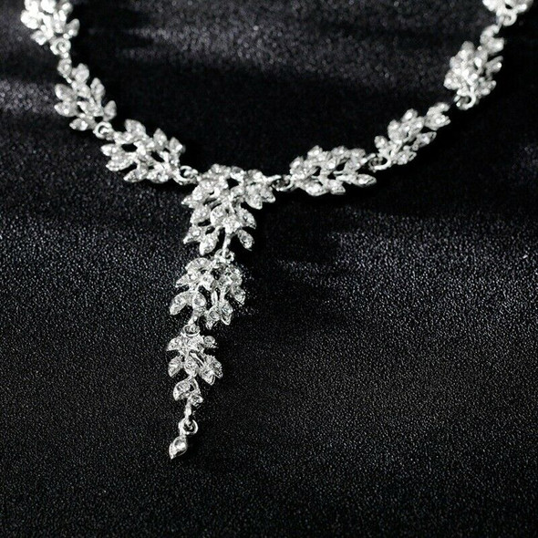 Fashion Crystal Bridal Earrings and Necklace Jewelry Set Exquisite Diamond