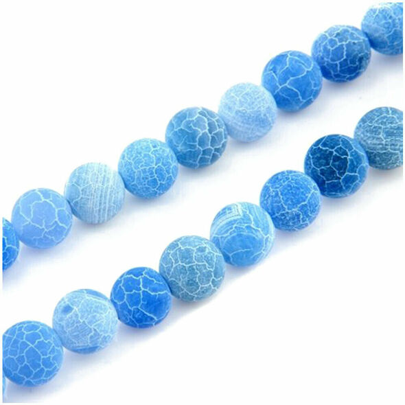 Blue Fire Dragon Veins Agate Gem Round Beads 8mm Strand HOT