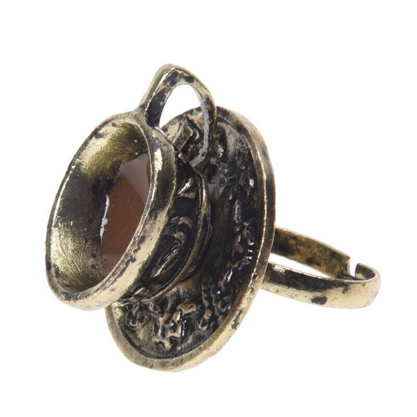 Metal Retro Coffee Tea Cup Finger Ring Adjustable Fashion