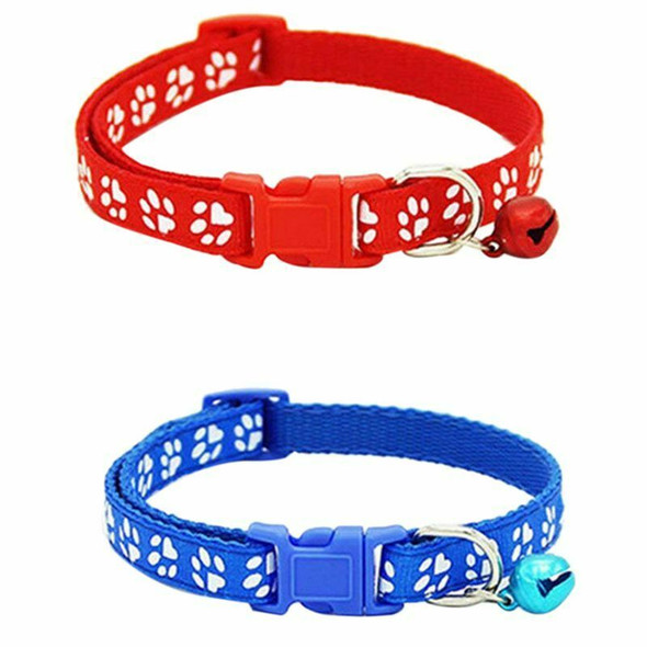 2 Pack Adjustable Cat Collar with Bell, Fashion Paw Print Design Pet Collar