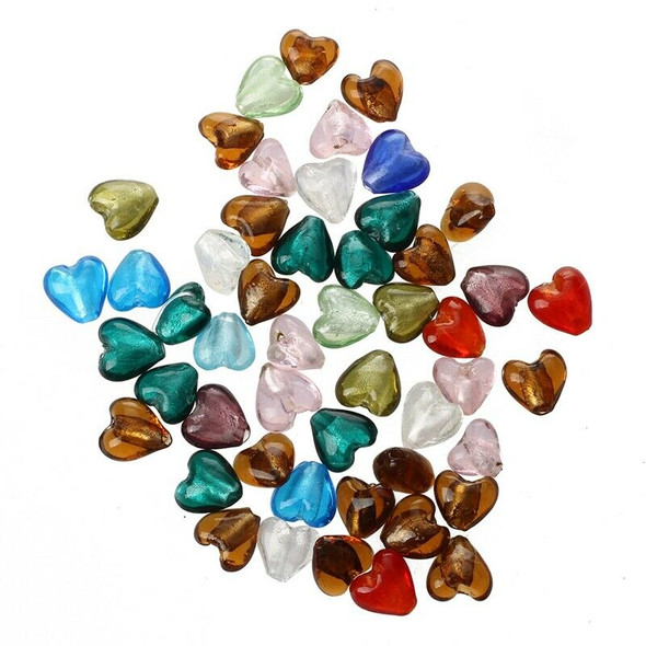 50 X Murano Glass Beads Pendant HEART 12MM