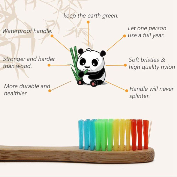 Natural Bamboo Toothbrush Made with Rainbow Nylon Infused Bristles in Recyc
