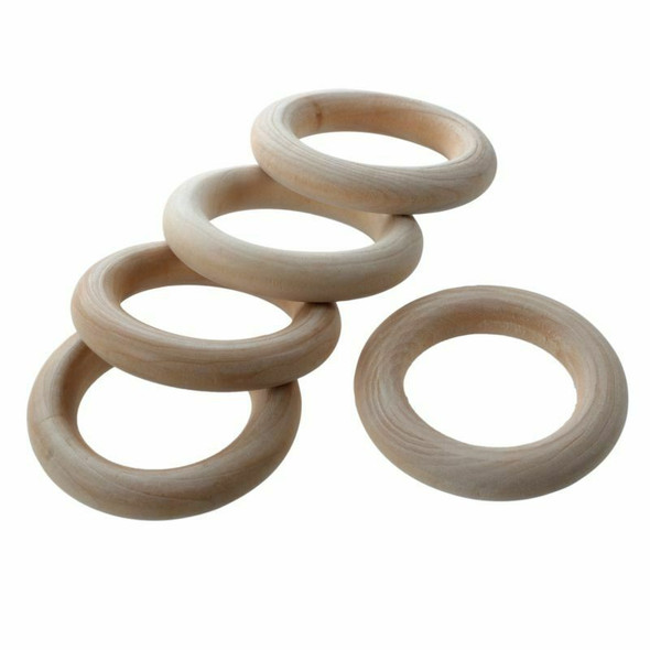 20pc Unfinished Teething Ring Add On Wooden Rings 55mm Natural 2.2 inches