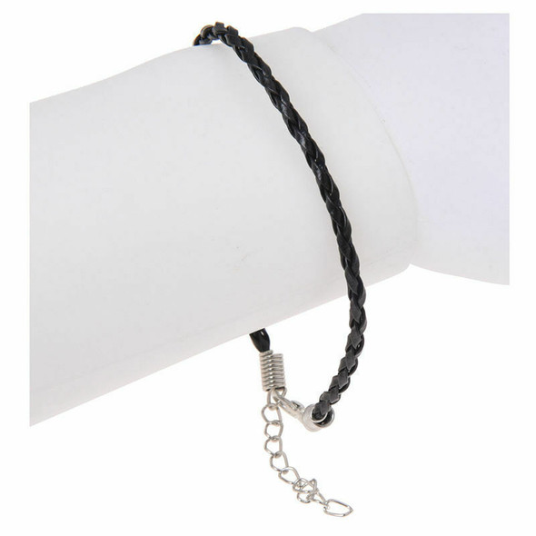 "10 X Black Leather Bracelet Cord Fits Charm Beads 0.12"" HOT"