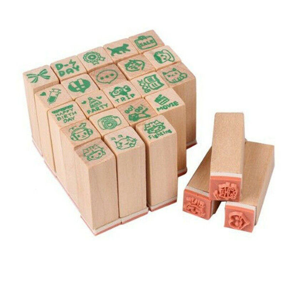 25xHappy Life diary stamp DIY rubber stamp wood stamp with wooden box