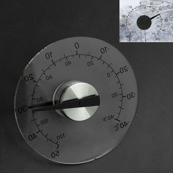 Circular Transparent Outdoor Window Thermometer Temperature Weather Station