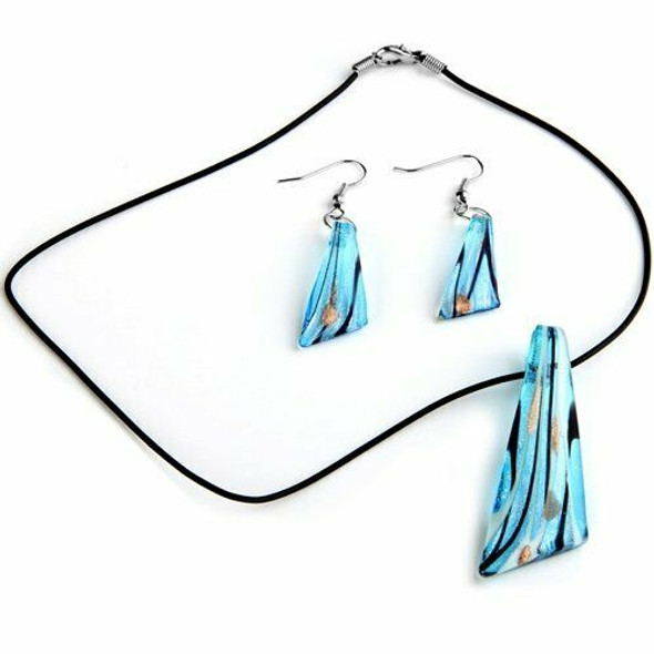 Set of Glass Murano Pendant Necklace Earrings