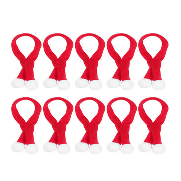 10 Pcs Mini Christmas Scarf Christmas Pet Scarf for Dog Cat and Wine Bottle