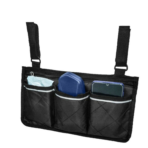 Wheelchair Side Bag for Back Wheelchair Storage Bag Pouch Fits Most Bed Rai