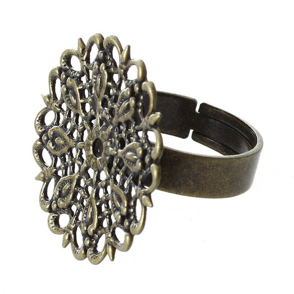 10 Ring support Flower Metal Bronze Ring Plateau Adjustable 25mm Metal Bron