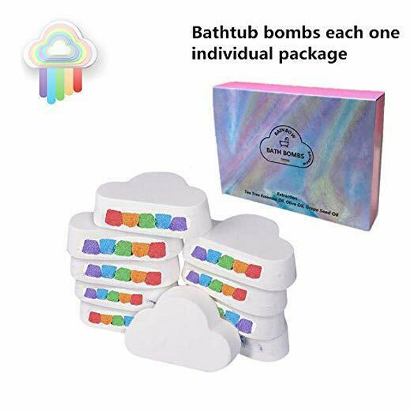 Colorful Rainbow Cloud Bath Bombs,Float On Water&Release Vivid Rainbow Colo