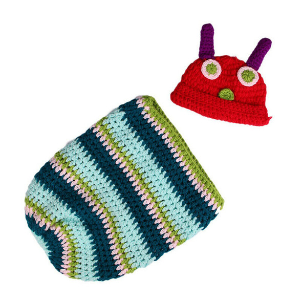Newborn Baby Boy Girl Beanie Crochet Very Hungry Caterpillar Hat Cocoon Set