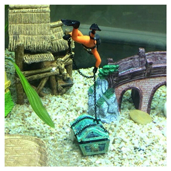 treasure Treasure hunter Diver Decoration for Aquarium Fish Tank orange