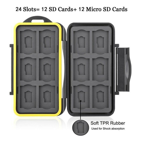Water-Resistant 24 Slots Memory Card Carrying Cases Professional Anti-Shock