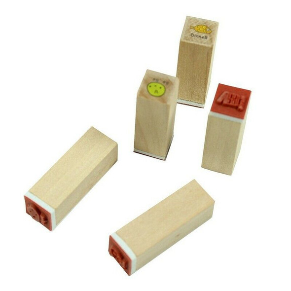 40pcs/set Happy Life Diary Girl Cute Cartoon Mounted Rubber Stamp Wooden Bo