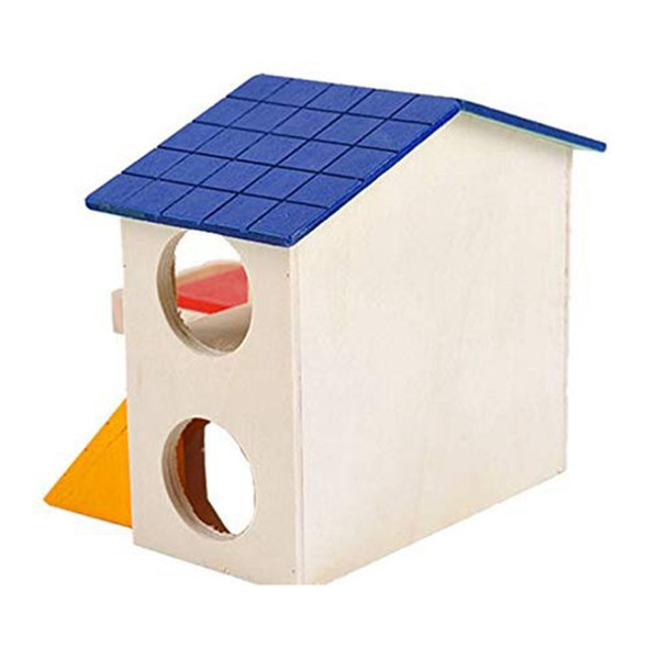 Pet Small Animal Hideout Hamster House Deluxe Two Layers Wooden Hut Play To