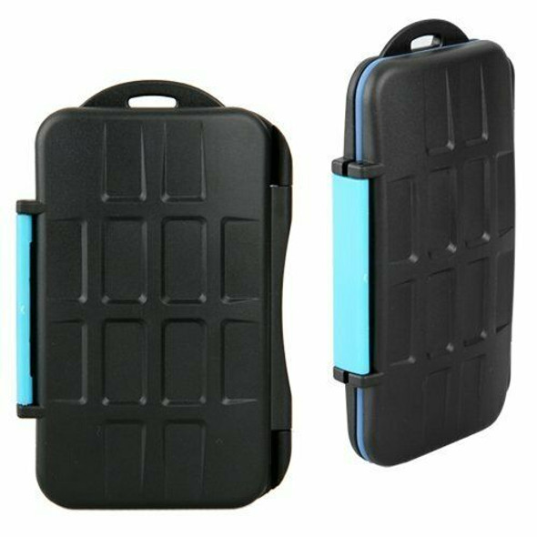 Case Cover Box for Memory Card Waterproof CF has 4 or 8 SD Black 13x8x1.8cm