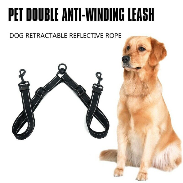 Double Leash Coupler for Large Dogs Adjustable Heavy Duty Nylon Splitter fo