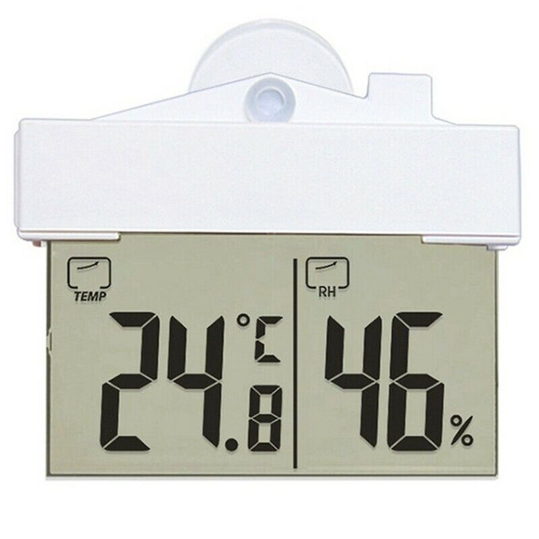 Digital Transparent Home Window Display Thermometer Hygrometer Indoor Outdo