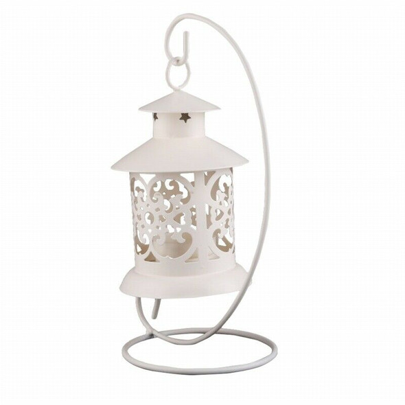 Iron Moroccan Style Candlestick Candleholder Candle Stand Light Lantern (Wh
