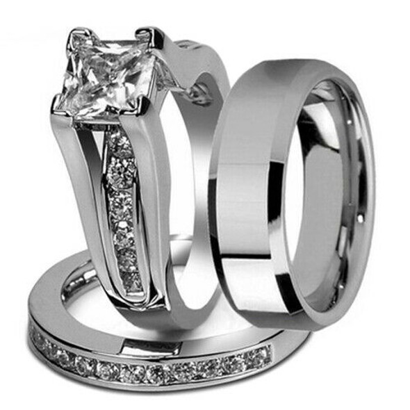 His and Hers Stainless Steel Princess Wedding Ring Set and Beveled Edge Wed