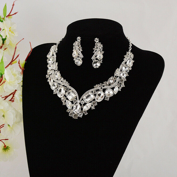 Luxury Rhinestone Crystal Earrings and Necklace Costume Bridal Jewelry Sets