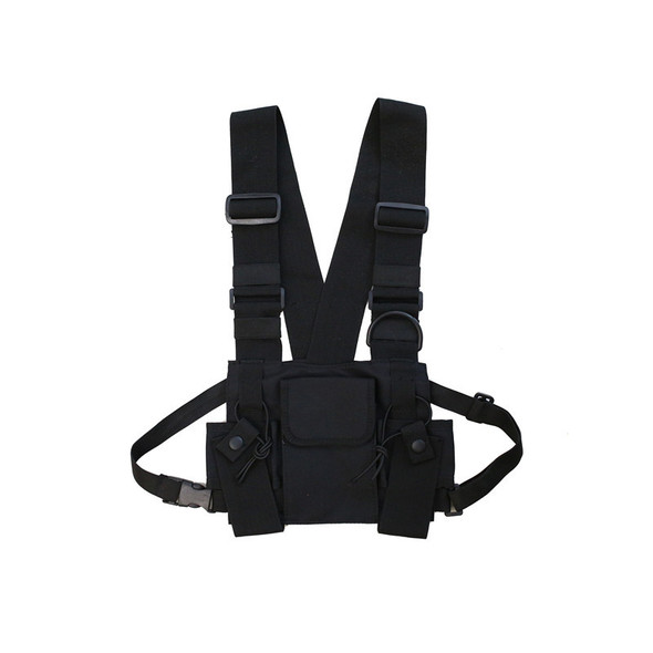 Radio Walkie Talkie 3 Pocket Chest Pack Bag Harness with Zipper for Motorol