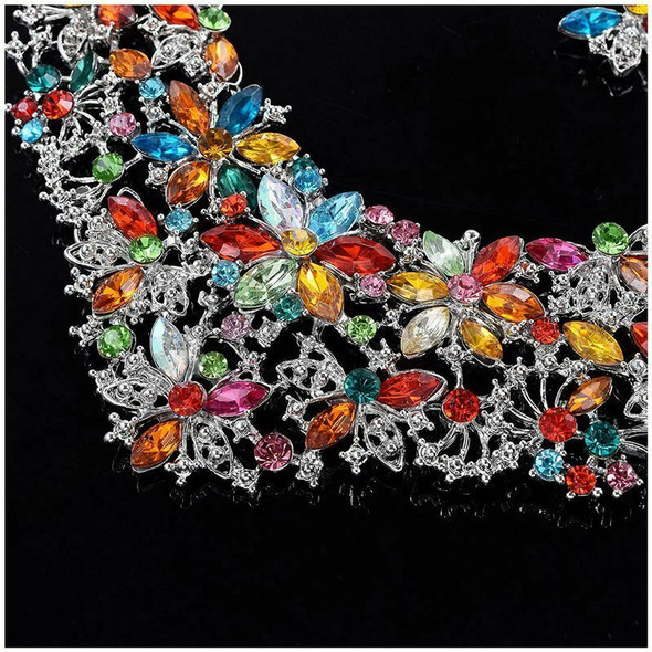 Women Alloy and Crystal Butterfly Necklace and Earring Set 40+7cm Multicolo