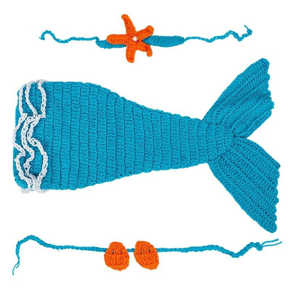 Baby Crochet Knitted Photo Photography Prop Mermaid Tail Romper Outfit