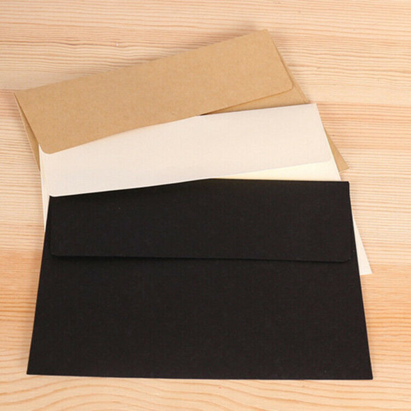 50Pcs/Pack 17.5X12.5Cm Kraft White Black Paper Envelope Message Card Letter