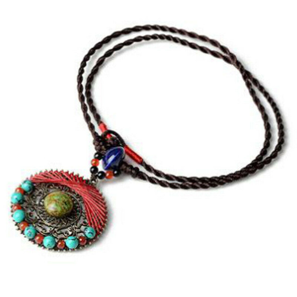 Ethnic Style Accessories Hand-Knitted Pine Wax Line Bohemian Style Necklace