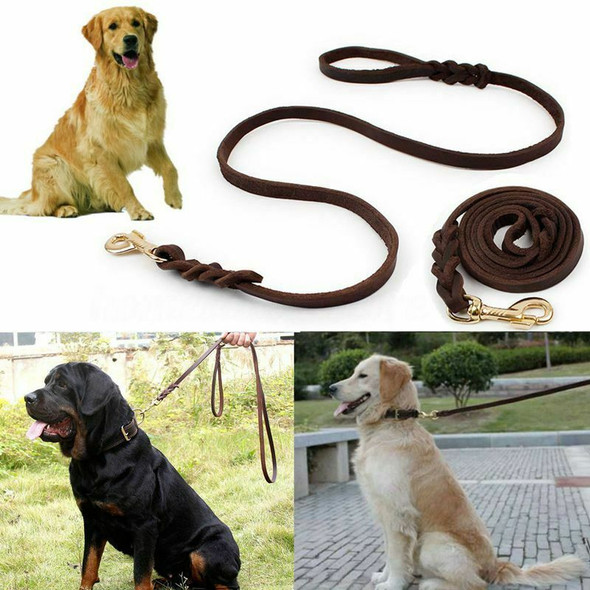 2M Long Leather Braided Pet Dog Walk Traction Collar Strap Training Leash L