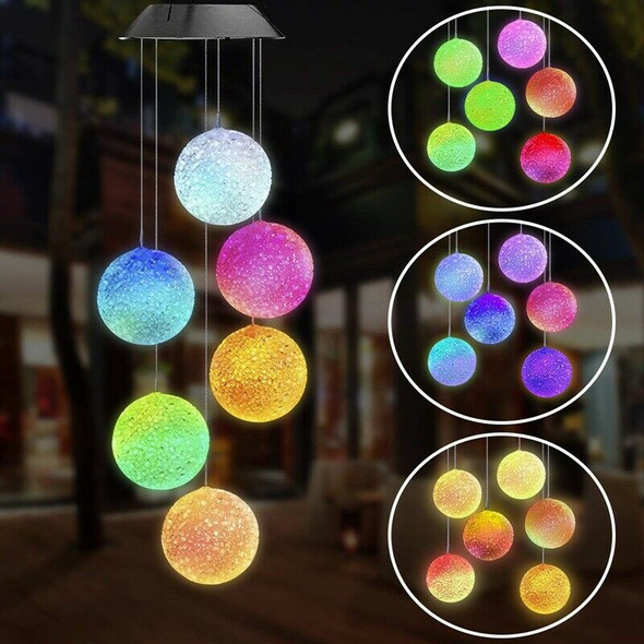 Solar Powered Wind Chime Light String Crystal Ball Color Change Outdoor Wat