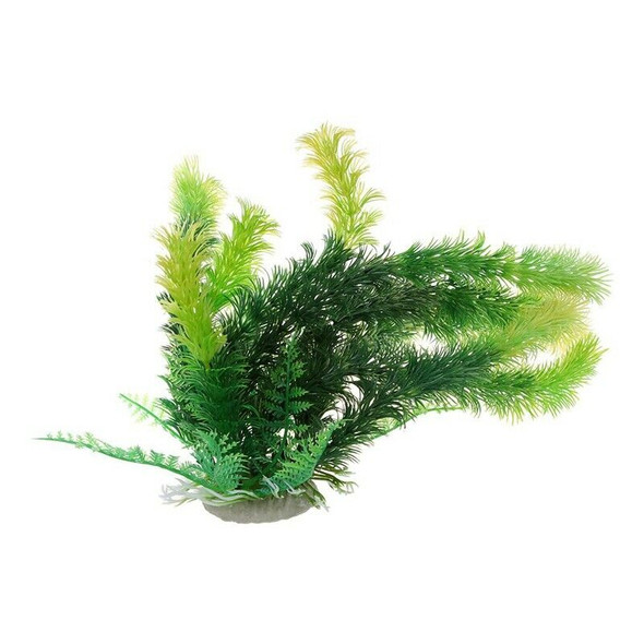 "Aquarium Ceramic Base 9.8"" Height Plastic Aquatic Plant Green"
