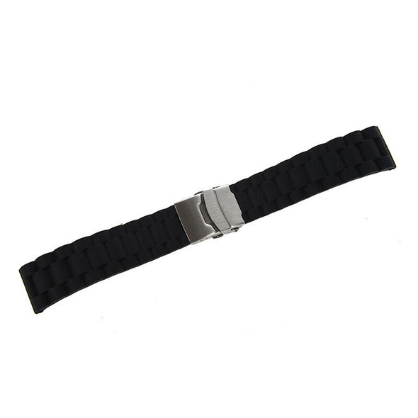 Black Silicone Waterproof Diving Watchband Strap Deployment Clasp 22mm