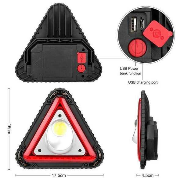 triangular Cob Led Work Light Usb Charging Traffic Warning Light Outdoor Ca