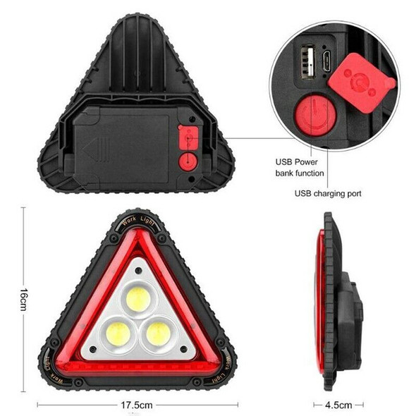 Portable triangular Function 3 Cob Led Work Lamp Usb Charging Traffic Warni