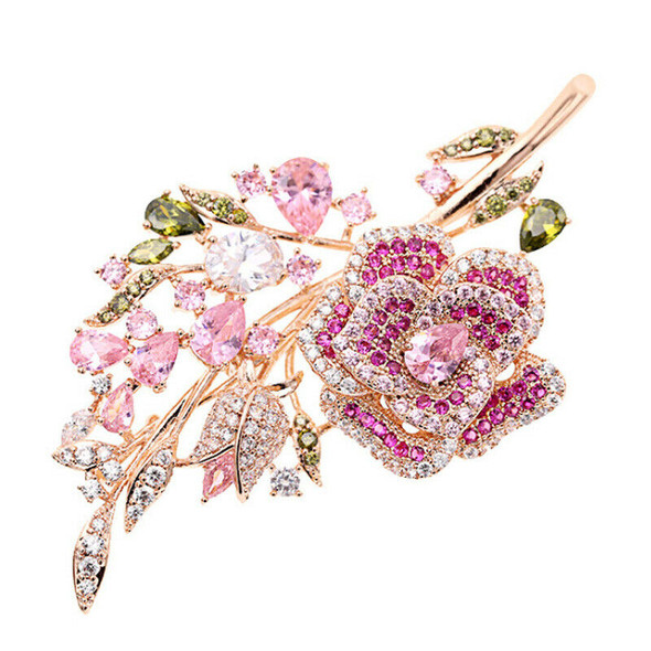 Bridal Jewelry Accessories Pink Cubic Zirconia Rose Flower Suit Brooch Lady
