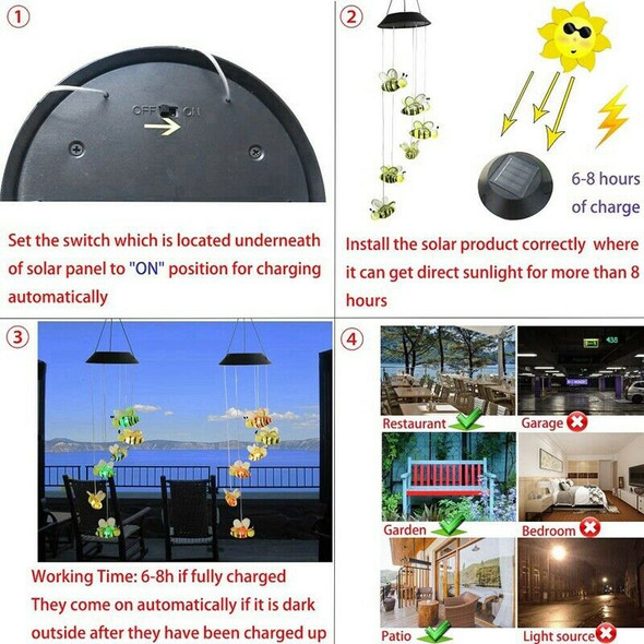 Solar Bee Wind Chimes, Color-Changing Moving Rotating Wind Chime Waterproof