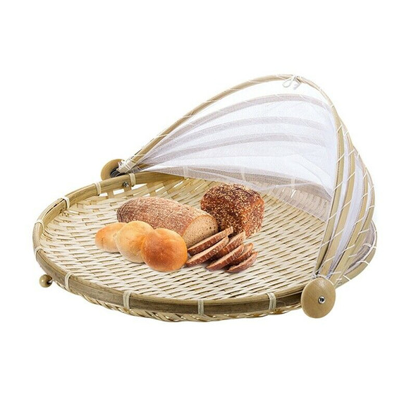 1X(1Pc Hand Woven Bug Proof Basket Dustproof Picnic Basket Handmade Fruit V